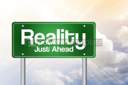 Business: Reality Green Road Sign business concept #02348