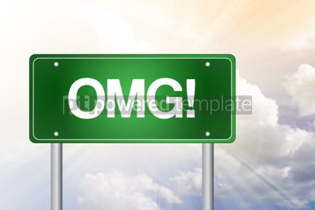 Business: OMG! Oh My Gosh Green Road Sign concept