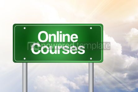 Business: Online Courses Green Road Sign business concept