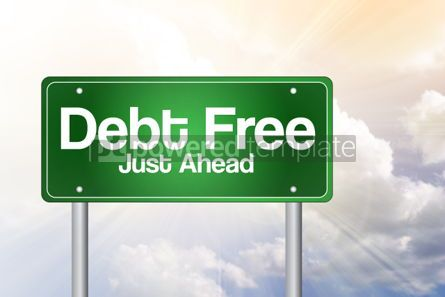 Business: Debt Free Green Road Sign business concept