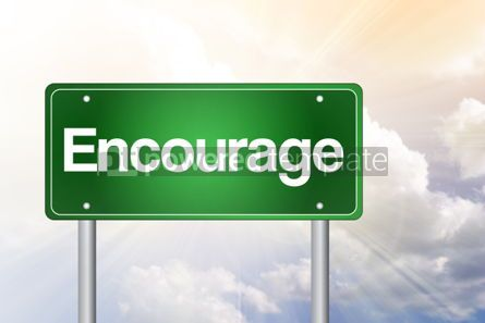 Business: Encourage Green Road Sign business concept