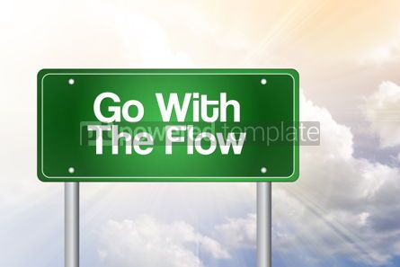 Business: Go With The Flow Green Road Sign business concept