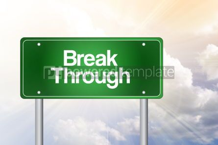 Business: Break Through Green Road Sign business concept #02381