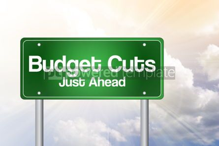 Business: Budget Cuts Green Road Sign business concept #02386
