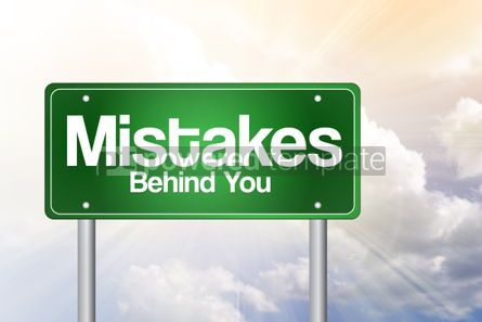 Business: Mistakes Behind You Green Road Sign business concept #02387