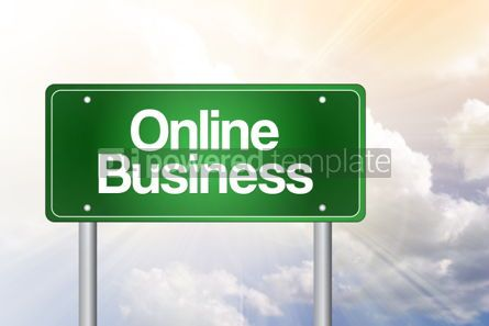 Business: Online Business Green Road Sign business concept