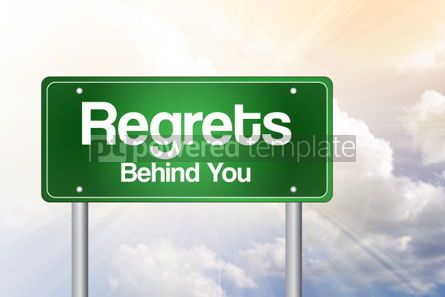 Business: Regrets Behind You Green Road Sign business concept