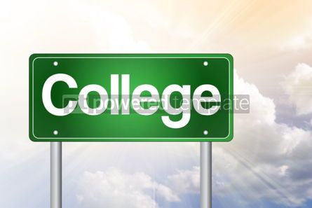 Business: College Green Road Sign education concept