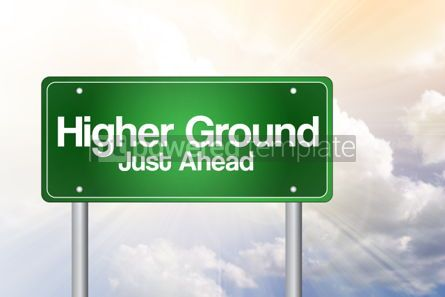 Business: Higher Ground Green Road Sign business concept #02418