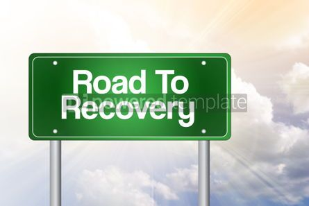 Business: Road To Recovery Green Road Sign business concept #02426
