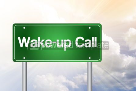 Business: Wake-up Call Green Road Sign business concept #02436