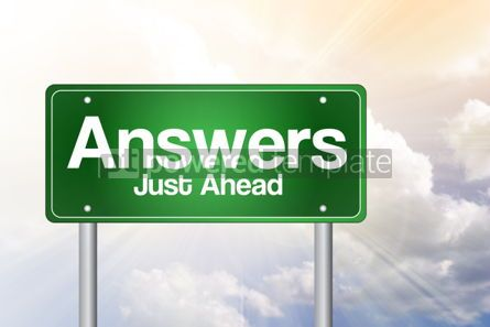 Business: Answers Just Ahead Green Road Sign Business Concept