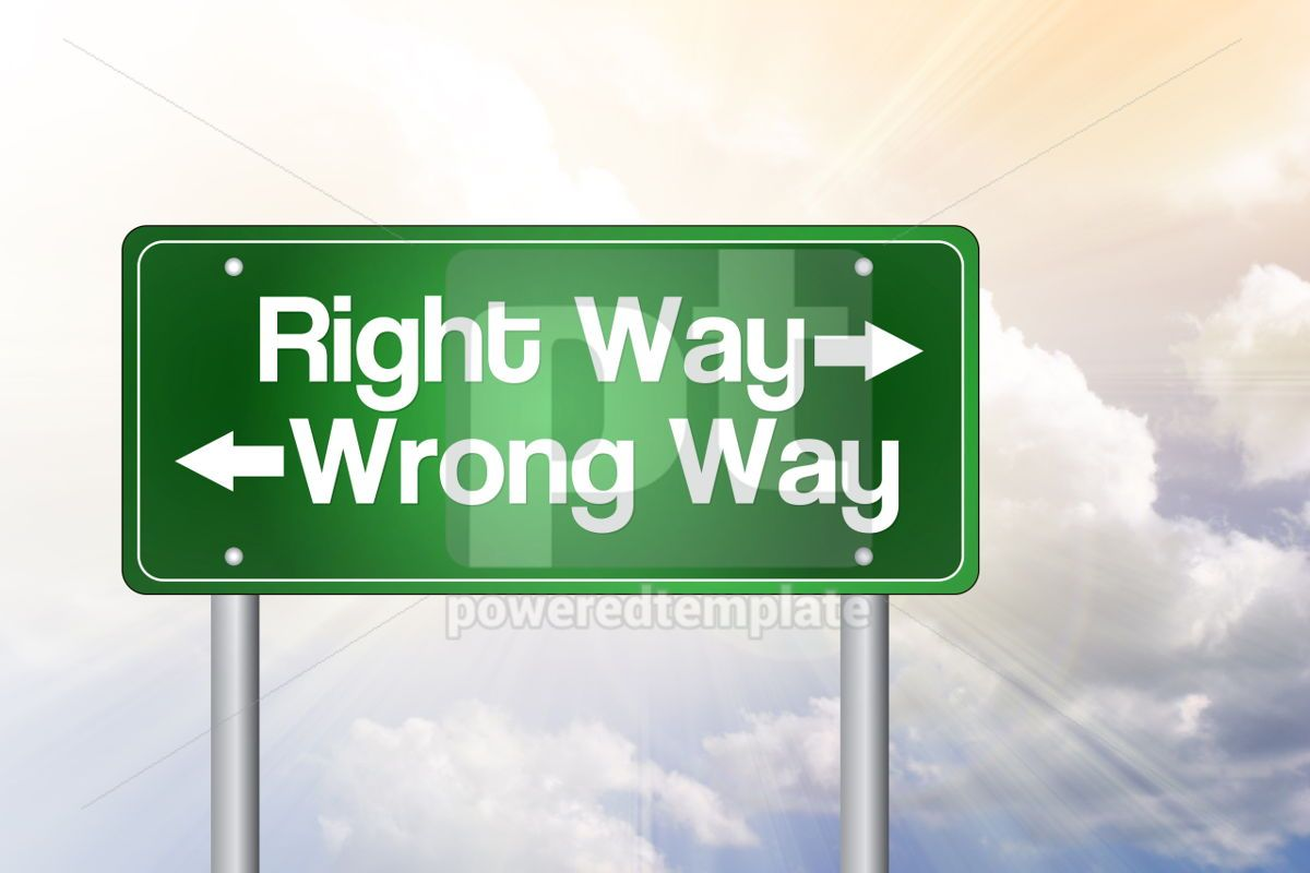 Right Way Wrong Way Green Road Sign business concept