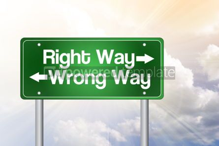 Business: Right Way Wrong Way Green Road Sign business concept