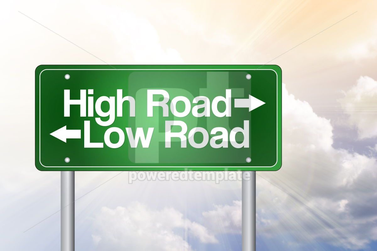 High Road Low Road Green Road Sign business concept