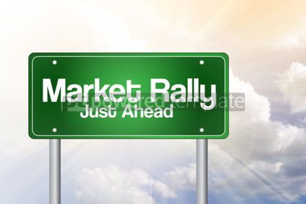 Business: Market Rally Green Road Sign business concept #02487