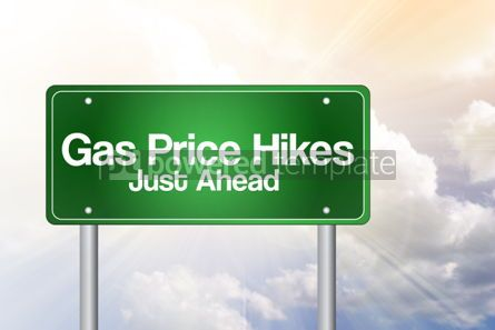 Business: Gas Price Hikes Green Road Sign concept