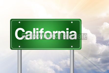 Business: California Green Road Sign Travel Concept