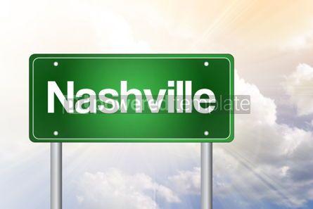 Business: Nashville Green Road Sign Travel Concept #02517
