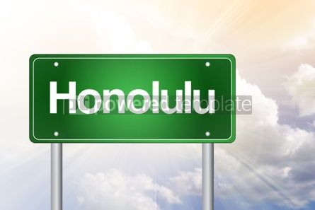 Business: Honolulu Green Road Sign Travel Concept