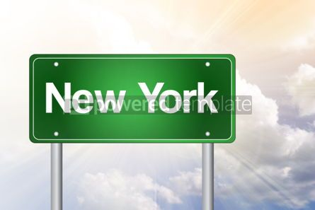 Business: New York Green Road Sign Travel Concept