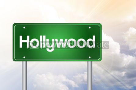 Business: Hollywood Green Road Sign Travel Concept