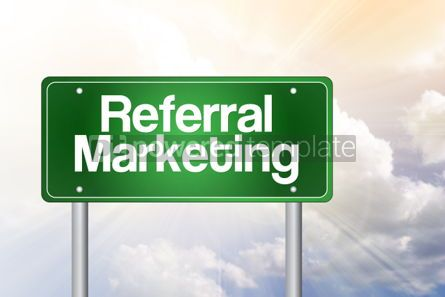 Business: Referral Marketing green road sign business concept #02525