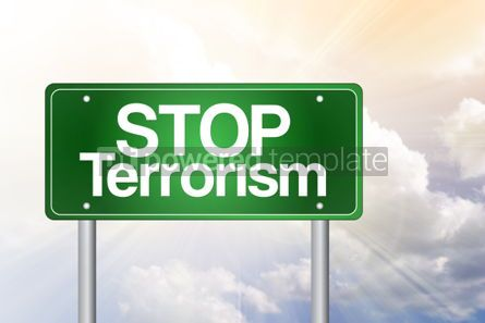Business: Stop Terrorism green road sign concept #02532