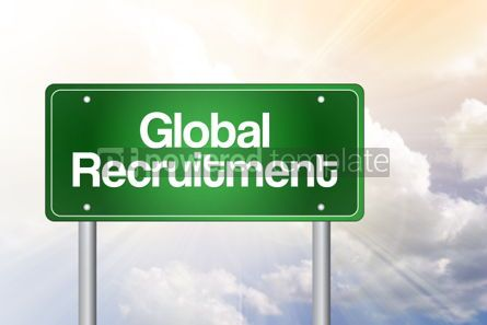 Business: Global Recruitment green road sign business concept background #02537