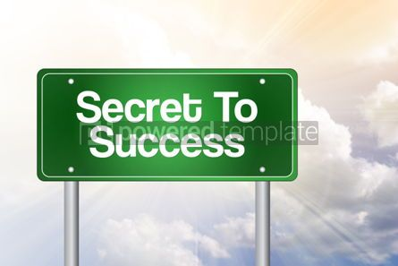 Business: Secret to success green road sign business concept background #02539