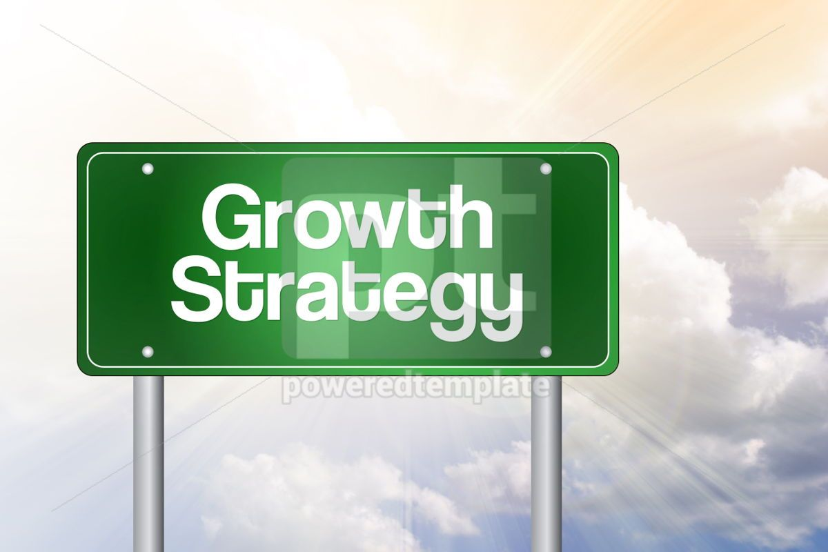 Growth Strategy Green Road Sign business concept, 02540, Business — PoweredTemplate.com