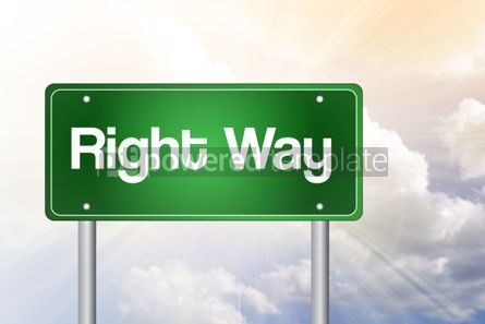 Business: Right Way green road sign business concept background #02541