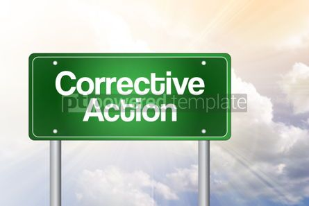 Business: Corrective action green road sign business concept background #02542