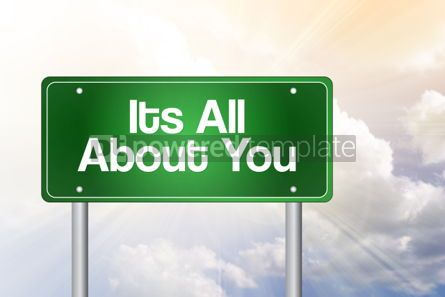 Business: Its all about you green road sign concept background #02543
