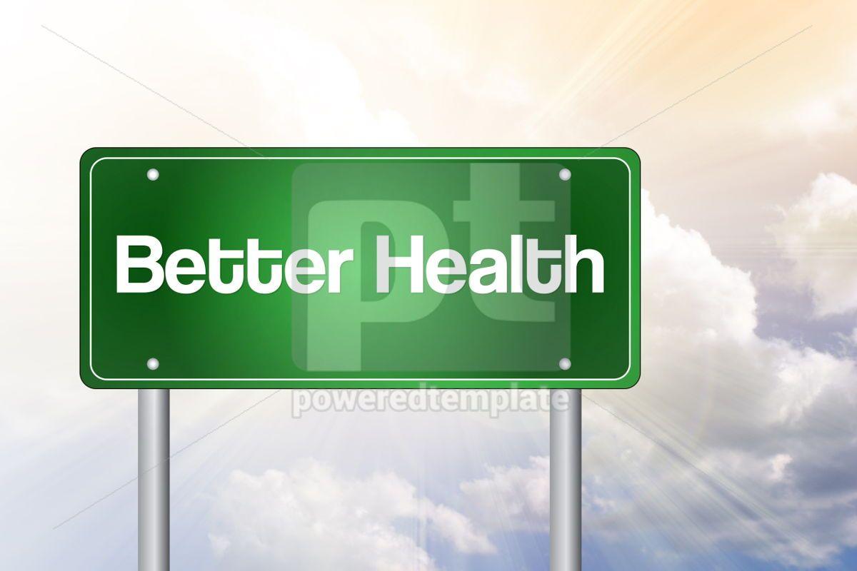 Better health green road sign health concept background, 02545, Business — PoweredTemplate.com