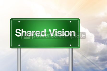 Business: Shared vision green road sign business concept background #02546