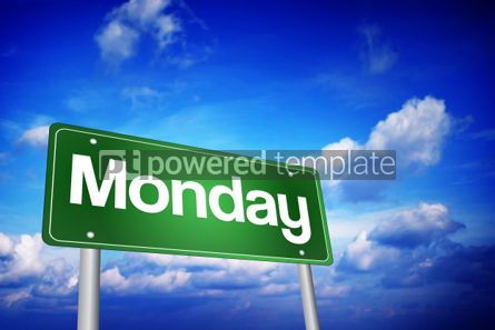 Business: Monday Green Road Sign days of the week concept