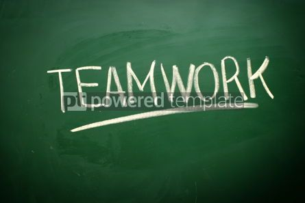 Business: Handwritten Teamwork word with white chalk #02569