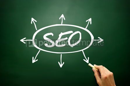 Business: Hand drawn SEO arrows direction concept business strategy on bl #02605