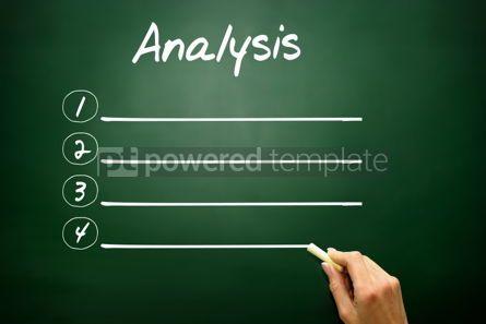 Business: Hand drawn Blank Analysis list concept on blackboard #02612