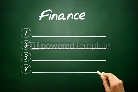 Business: Hand drawn FINANCE blank list concept on blackboard #02613