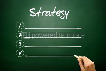 Business: Hand drawn STRATEGY blank list concept on blackboard #02614