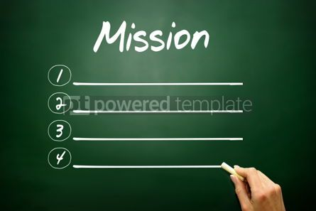 Business: Hand drawn MISSION blank list concept on blackboard #02616