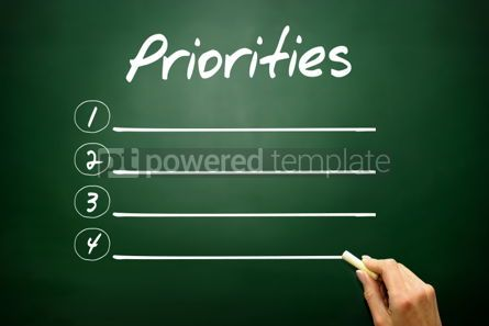 Business: Hand drawn Priorities blank list concept on blackboard #02617