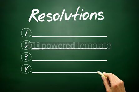 Business: Hand drawn RESOLUTIONS blank list concept on blackboard