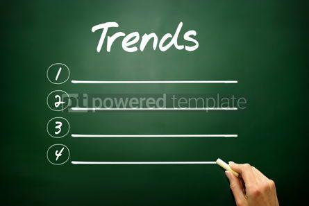 Business: Hand drawn TRENDS blank list concept on blackboard #02622
