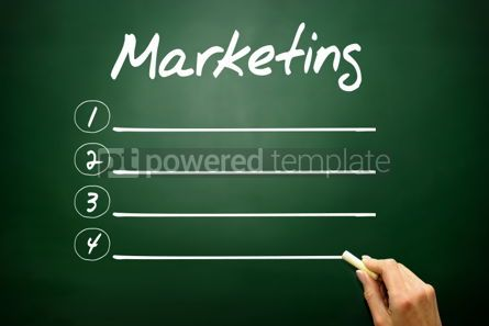 Business: Hand drawn MARKETING blank list concept on blackboard