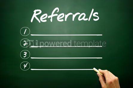 Business: Hand drawn REFERRALS blank list concept on blackboard #02624