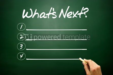 Business: Hand drawn What's Next? blank list concept on blackboard #02629
