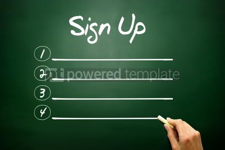 Business: Hand drawn SIGN UP blank list concept on blackboard